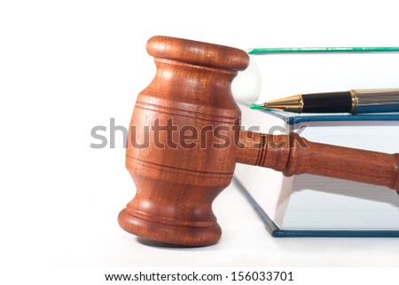 Gavel, books and pen on white background - stock photo