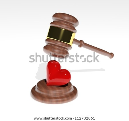 Gavel coming down on a 3d heart design - stock photo