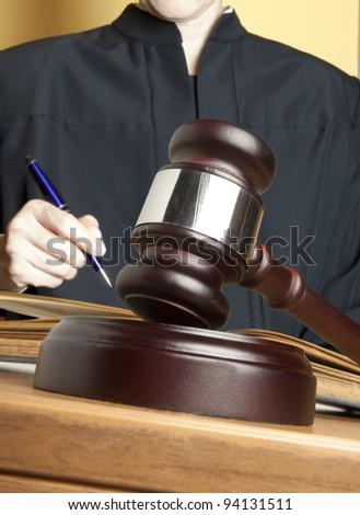 Gavel & female judge - stock photo