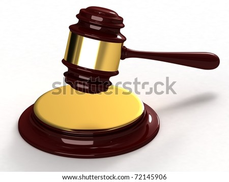 Gavel from mahogany and gold elements. - stock photo