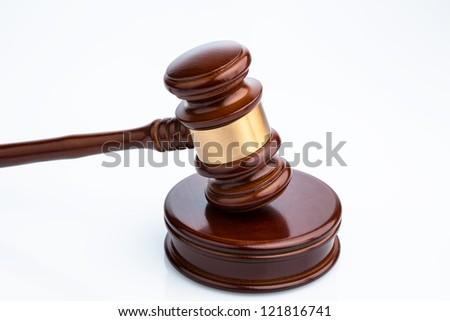 gavel (gavel) on white background. symbolic photo for justice - stock photo