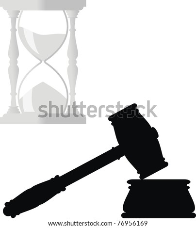 Gavel. Hammer and anvil - symbols of law,  hourglass - isolated illustration  - black and gray silhouette on white background - stock photo