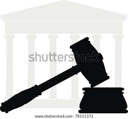 Gavel. Hammer, anvil, Portico (Colonnade, ancient temple, court) - symbols of law - isolated illustration - black and gray silhouette on white background - stock photo