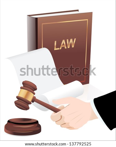 Gavel in hand and law book. Photo-realistic
