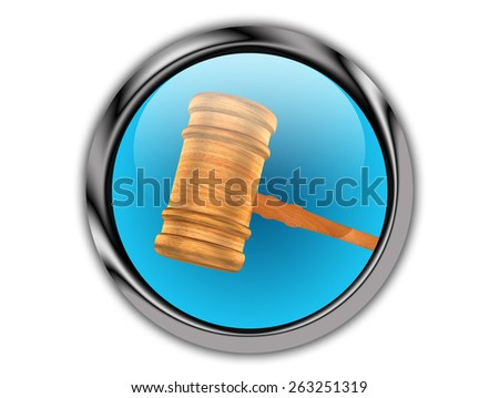 Gavel Inside A Metal Glossy Push Button - stock photo
