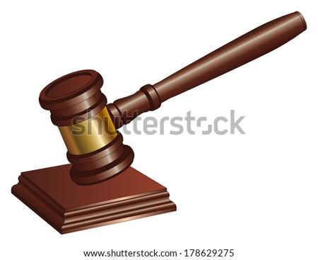 Gavel is an illustration of a gavel used by court judges and other symbols of authority. A gavel is used to call for attention or to punctuate rulings and proclamations. - stock photo