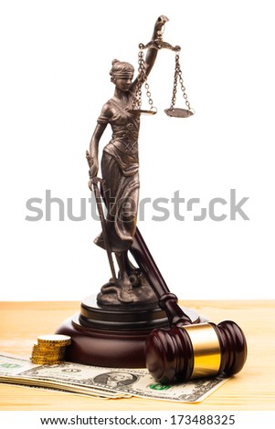 gavel , lady of justice and money  - stock photo