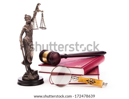 gavel,law book, magnifying glass and scales of justice  - stock photo
