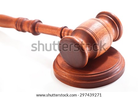 Gavel made of mahogany on a white background - stock photo