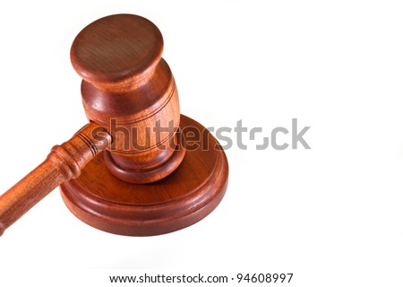 gavel of justice on a white background - stock photo