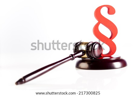 Gavel, Paragraph sign symbol  - stock photo