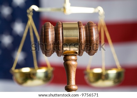 Gavel with American Flag and Justice of Scale in background - stock photo