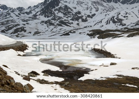 Gavia Pass, the highest paved road in the Alps, Italy - stock photo
