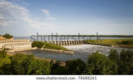 Gavins Point Dam, Gavins Point Dam is a hydroelectric dam on the Missouri River in  Nebraska and South Dakota. Built from 1952 to 1957, it impounds Lewis and Clark Lake. - stock photo