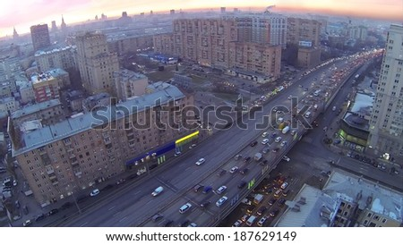 Gavrikova Street (Third Ring Road) at evening in Moscow, Russia. Aerial view
