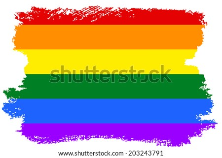 Gay and LGBT rainbow flag. Culture symbol. Handmade. Textured, made with acrylic paint and canvas. Grunge, isolated on white.  - stock photo
