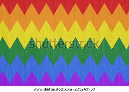 Gay and LGBT rainbow flag, Handmade. Textured, made with acrylic paint and canvas.  - stock photo