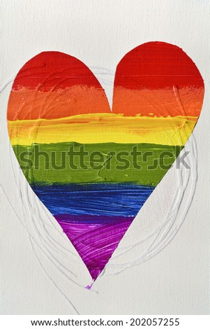 Gay and  LGBT rainbow flag heart, culture symbol. Handmade. Textured, made with acrylic paint and canvas. - stock photo