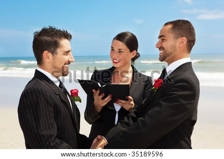 Gay couple getting married on a beach - stock photo