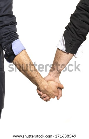 Gay couple hand by hand - stock photo