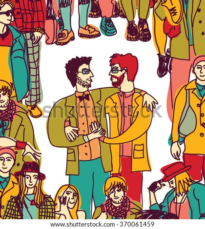 Gay couple lgbt and crowd love people coming out. Color illustration.  - stock photo