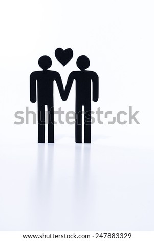 Gay couple, same-sex marriage, figurines - stock photo