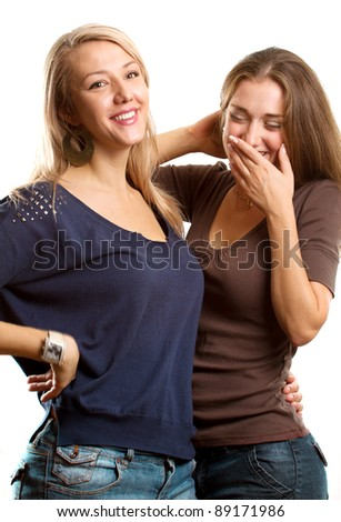 Gay couple, two beautiful women smiles at camera - stock photo