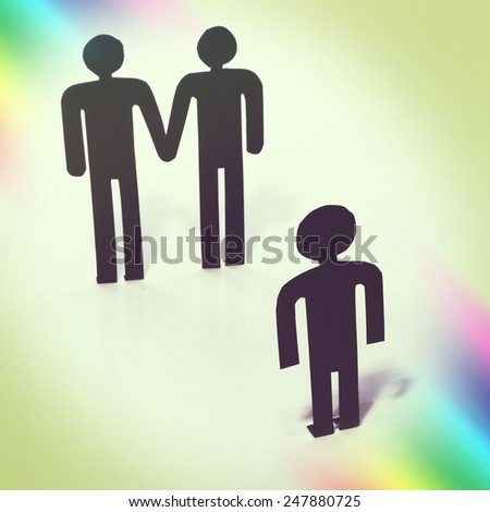 Gay couple with child, wish for child, same-sex marriage, figurines - stock photo