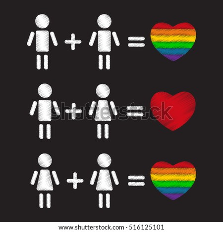 Gay couples with hearts. Happy family symbols.