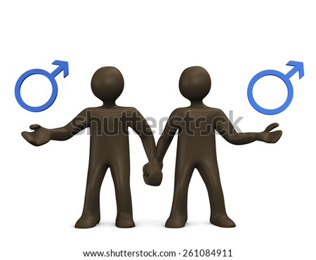 Gay, 3d illustration with black cartoon character - stock photo