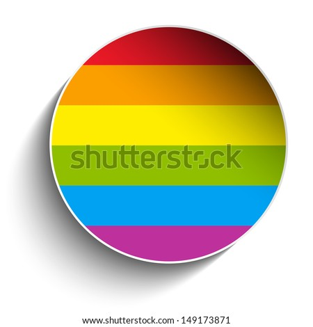 Gay Flag Circle Striped Sticker - stock photo