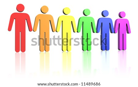gay flag colored row of man signs - stock photo