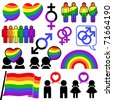 gay icon lesbian rainbow collection - stock vector
