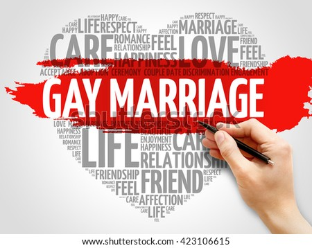 Gay marriage concept heart word cloud - stock photo