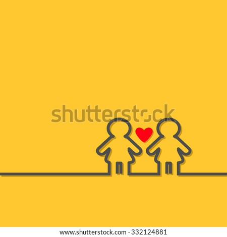 Gay marriage Pride symbol Two black contour women sign with red heart LGBT icon Yellow background Flat design  - stock photo