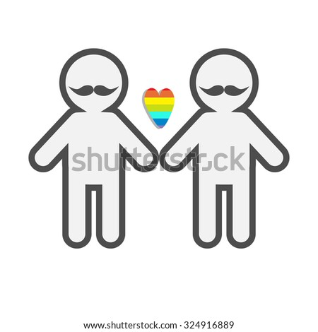 Gay marriage Pride symbol Two contour man with mustaches LGBT icon Rainbow heart Flat design - stock photo