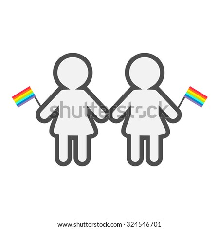 Gay marriage Pride symbol Two contour women with rainbow flags LGBT icon Flat design  - stock photo