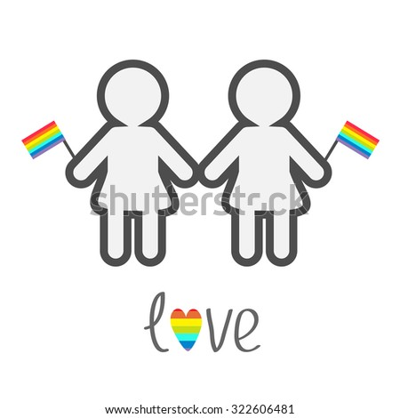 Gay marriage Pride symbol Two contour women with rainbow flags  Love heart LGBT icon Flat design  - stock photo