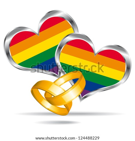 Gay marriage symbol with gold rings. - stock photo