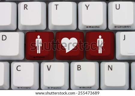 Gay Online Dating, A gray computer keyboard with man and man symbol with a heart in red letters - stock photo