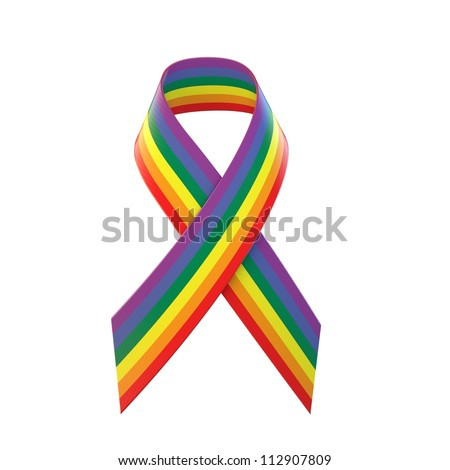 Gay Pride Awareness Ribbon - stock photo