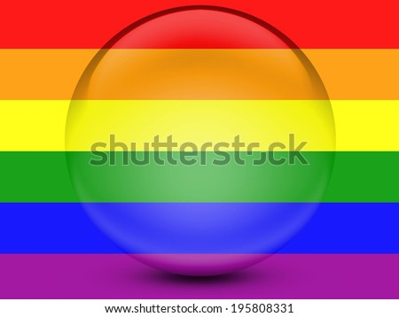 Gay pride flag on glossy transparent round icon - stock photo