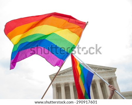 Gay Pride Flags at the U.S. Supreme Court - stock photo