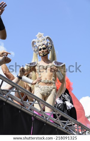 Gay Pride - is held each year in the center of the city. Antwerp has become one of European gayest cities and its pride march has grown steadily over the years - Belgium, Antwerp - August 09, 2014  - stock photo