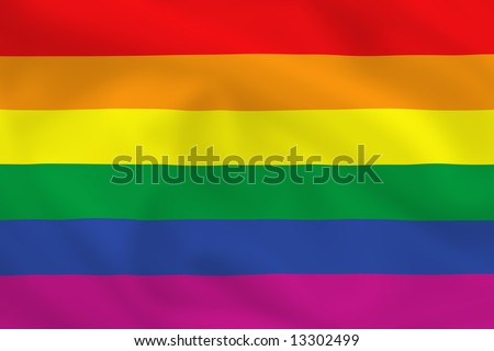 Gay pride waving flag (can be used how background or wallpaper) - stock photo