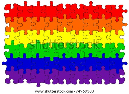 Gay rainbow flag puzzle/jigsaw - stock photo