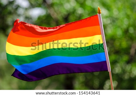 Gay rainbow flag waving in the wind - stock photo