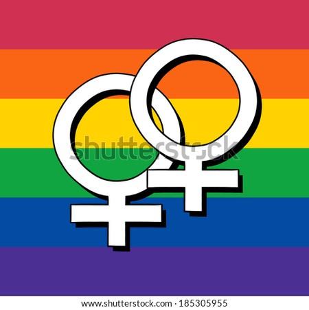 Gay Rainbow Flag With Female Symbol - stock photo