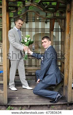 Gay wedding portrait - stock photo