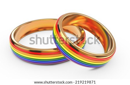 Gay Wedding Rainbow Rings Isolated on White Background. - stock photo